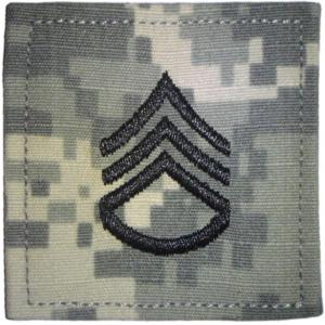 ACU Army Staff Sergeant Rank Insignia with Velcro. Hook fastener