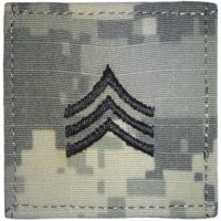 ACU Army Sergeant Rank Insignia with Velcro. Hook fastener