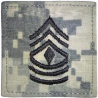 ACU Army First Sergeant Rank Insignia with Velcro. Hook fastener